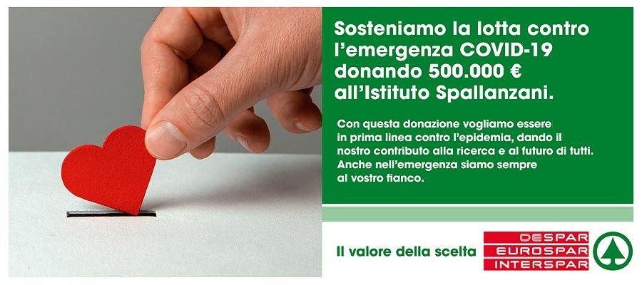 DESPAR: 500MILA EURO PER SOSTENERE L'ISTITUTO SPALLANZANI DI ROMA