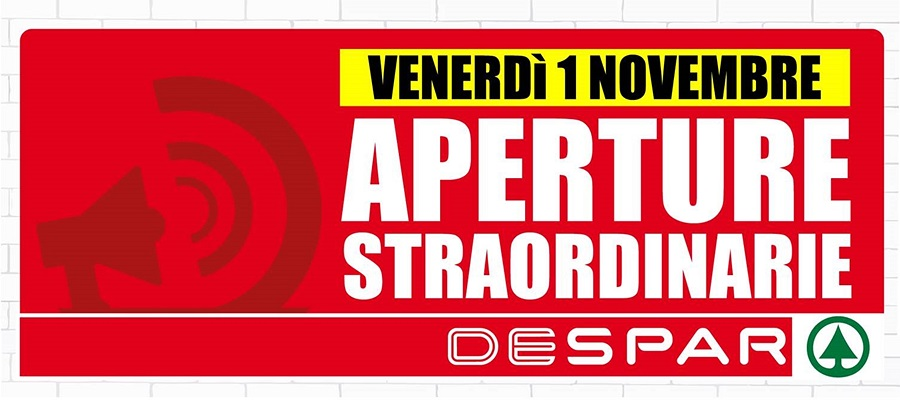 APERTURE STRAORDINARIE 1° NOVEMBRE 2019